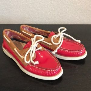 Sperry Top-sider Red Patent Leather Boat Shoes